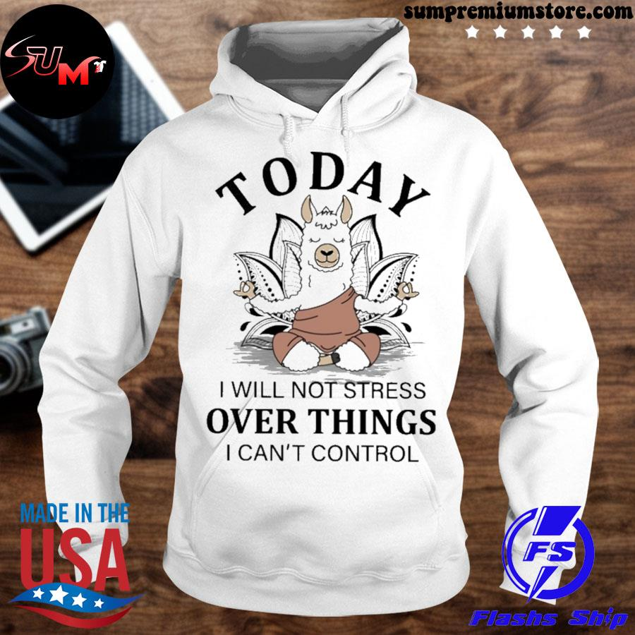 Llama Yoga to day i will not stress over things i can't control s hoodhie-white