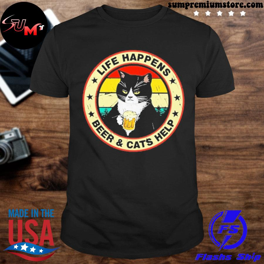 Official black cat life happens beer and cats help shirt