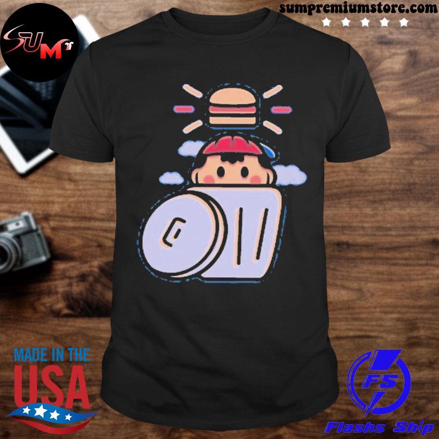 Official earthbound trashcan burger shirt
